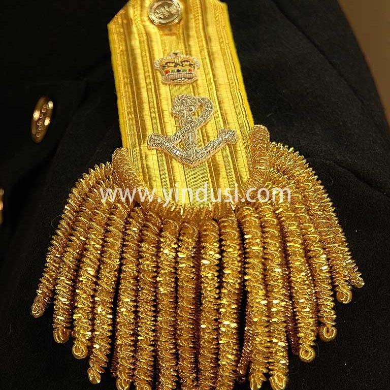 印度丝手工刺绣船锚皇冠金属大流苏肩章定制二战德国元帅将军礼服流苏肩章定做