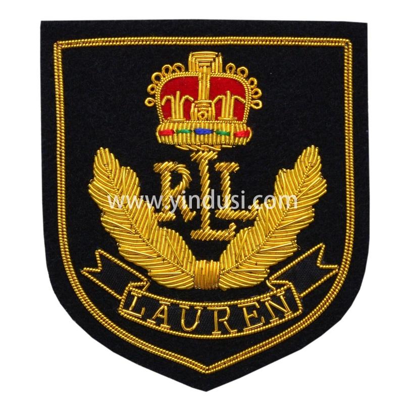印度丝手工刺绣金属丝徽章布贴麦穗皇冠拉夫劳伦品牌徽章定制