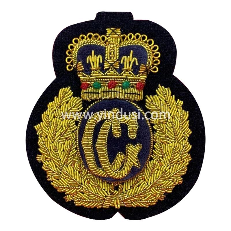 印度丝手工刺绣金属丝徽章布贴二战德国帽徽麦穗皇冠头徽章定做