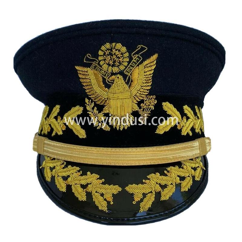 印度丝手工刺绣金属丝军帽定制制服帽手绣船长领航帽定制设计制服帽