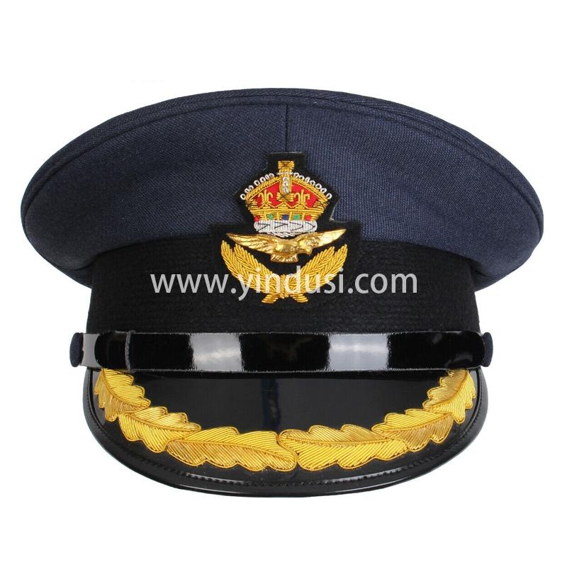 印度丝手工刺绣金属丝制服军帽定制皇家空军尖顶帽空军手绣尖顶帽定做