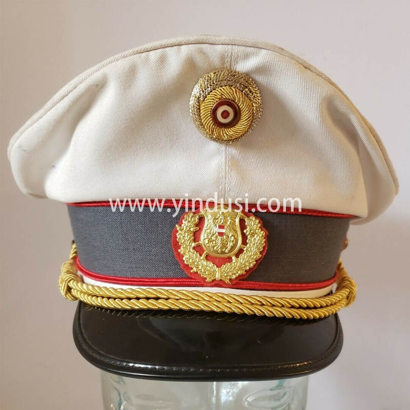 印度丝手工刺绣金属丝军帽定制二战德国船长游艇水手帽海军帽海军服配件