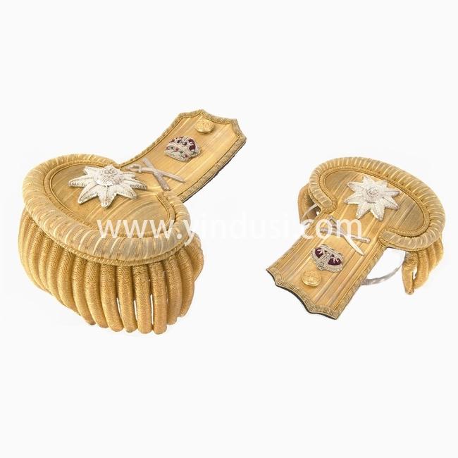 印度丝手工制作金属丝大流苏肩章二战德国元帅金条刺绣肩章|Fr飞行员制服定做