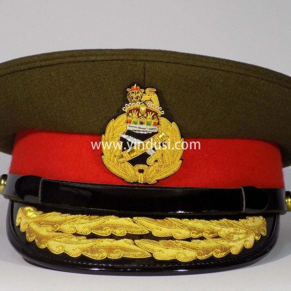 印度丝手工刺绣金属丝帽檐徽章定制二战德国军官大盖帽大檐帽定做