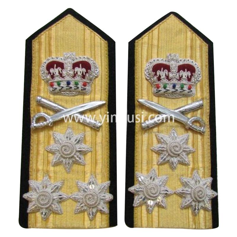 印度丝手工刺绣金属丝皇冠元帅肩章定制二战德国英国苏联礼服肩章定做