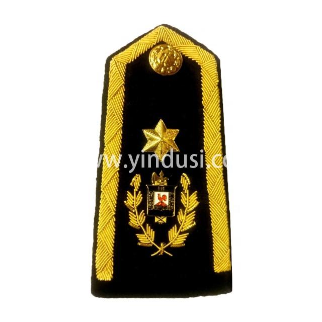 印度丝手工刺绣金属丝一星肩章定制二战德国英国俄罗斯军官礼服肩章定做