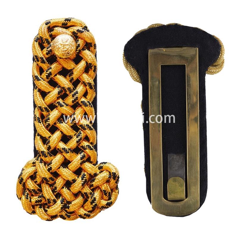 印度丝手工编制金属丝麻花肩章路肩板金属扣二战德国将领肩章定做