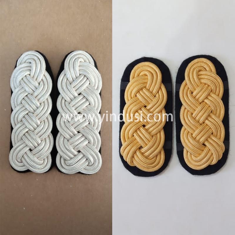 印度丝军品工厂手工编制金属丝麻花肩章二战德国英国军官礼服肩章定做