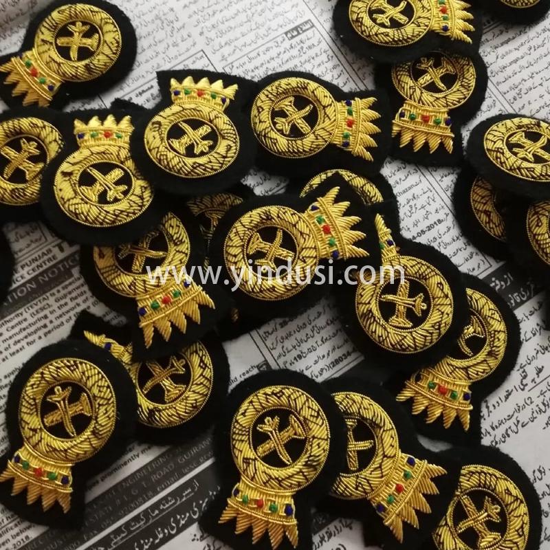 印度丝徽章工厂手工刺绣金属丝徽章定制二战德国英国高级品牌布贴定做