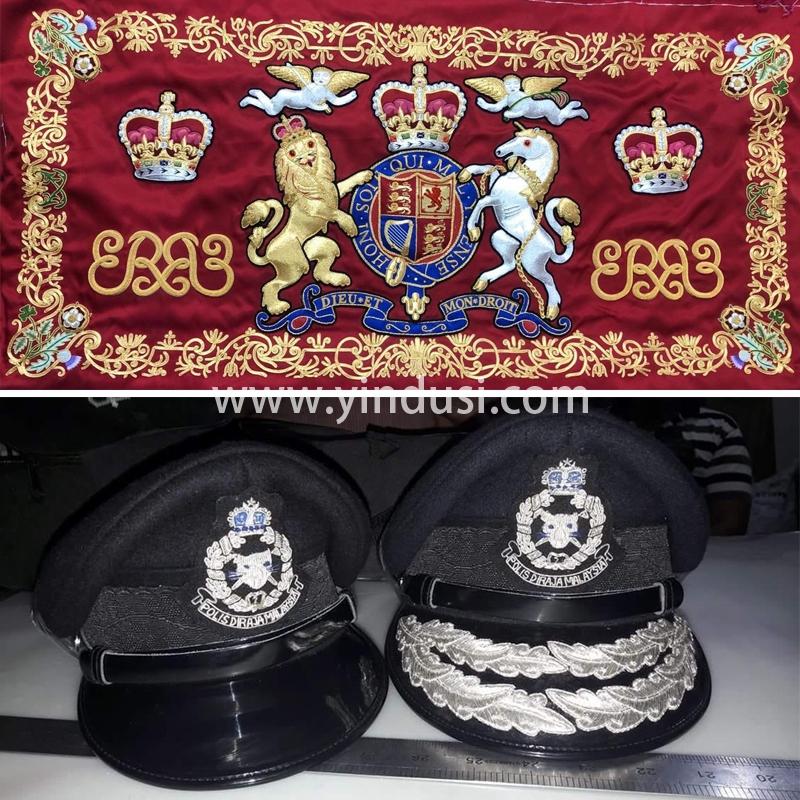 印度丝工厂手工刺绣英国国旗定制高级香港警察帽子定做帽徽帽檐定制