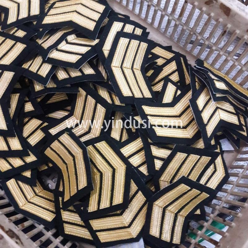 印度丝军品工厂金属丝手工织带领章航空公司机长领章定做