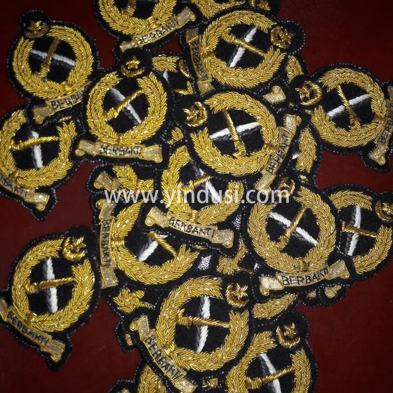 印度丝徽章工厂手工刺绣金属丝品牌徽章定制二战德国帽徽定做