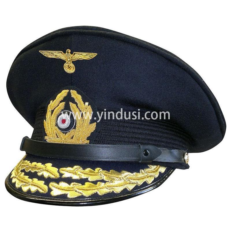 印度丝军品工厂手工刺绣金属丝帽徽帽檐定制二战德国将领军帽定做