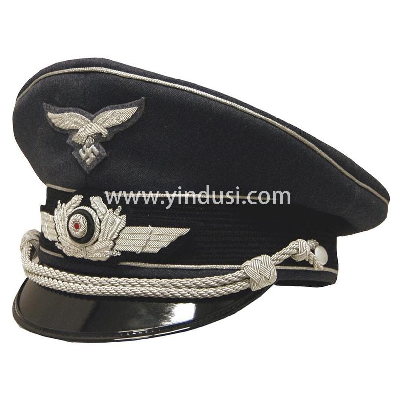 印度丝军品工厂手工刺绣金属丝帽徽帽檐二战德国英国军帽定做