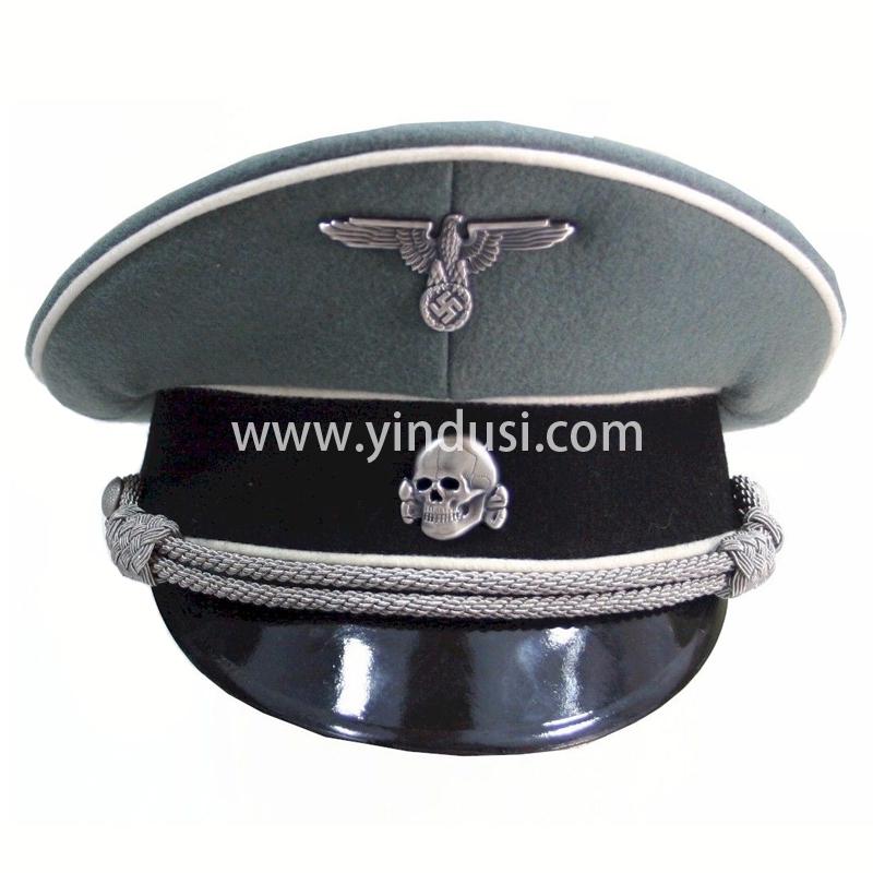 印度丝军品工厂手工刺绣金属丝帽徽帽檐定制二战德国高级军官军帽定做