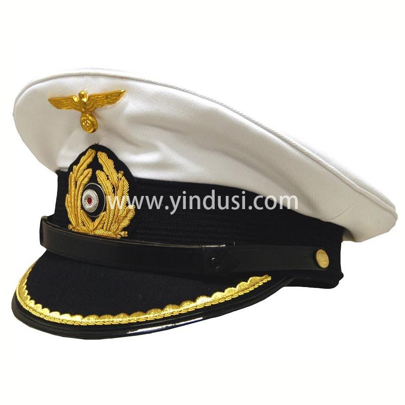 印度丝军品工厂手工刺绣金属丝帽徽帽檐定制二战德国军官军帽定做