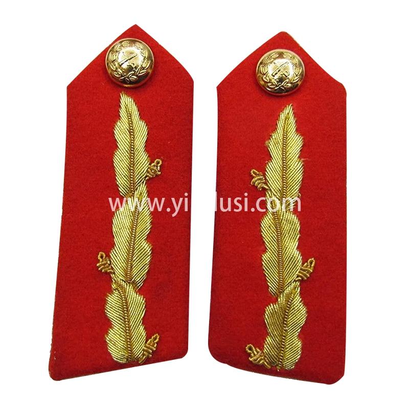 印度丝军品工厂手工刺绣金属丝肩章定制二战德国领章定做