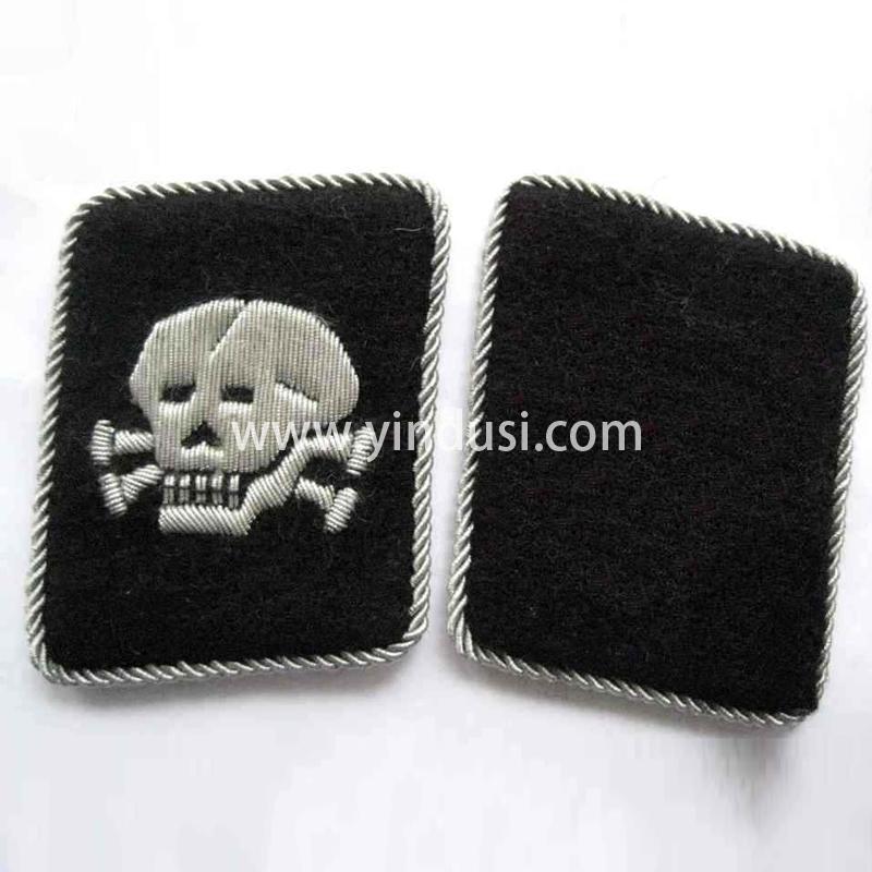 印度丝军品工厂手工刺绣骷颅头领章定制二战德国军官领章定做