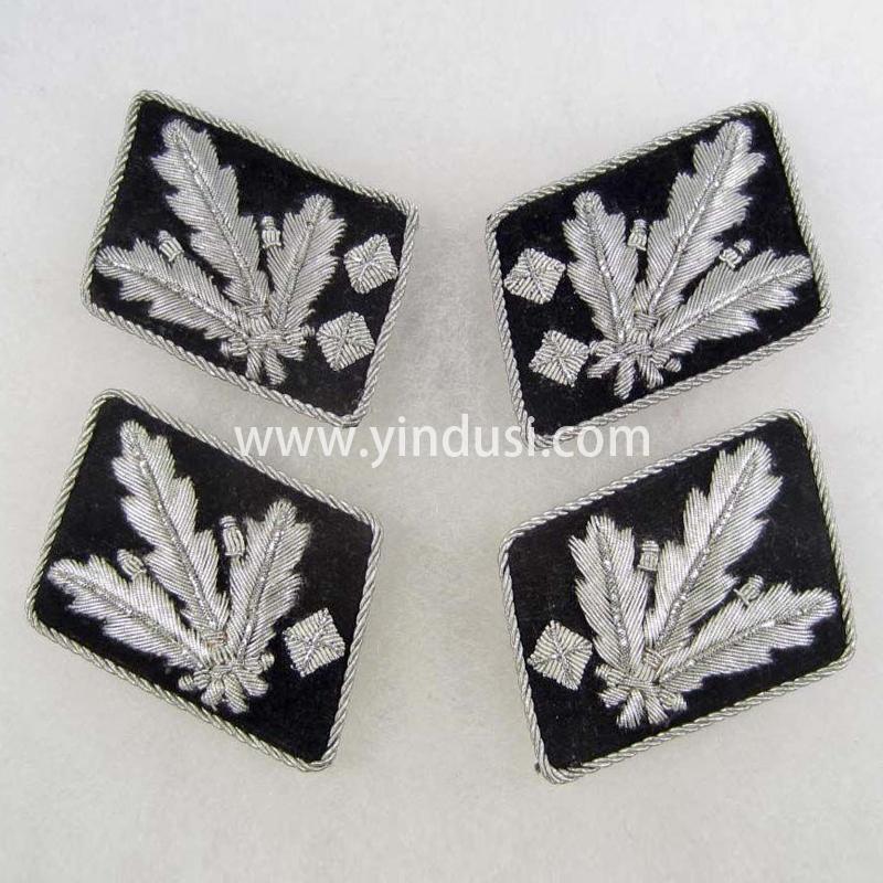 印度丝军品工厂手工刺绣金属丝领章定制二战德国高级领章定做