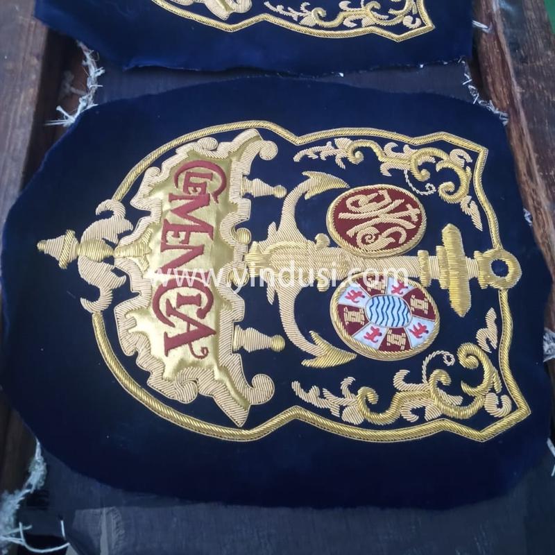 印度丝徽章工厂手工刺绣金属丝大徽章定制高级服饰品牌徽章定做