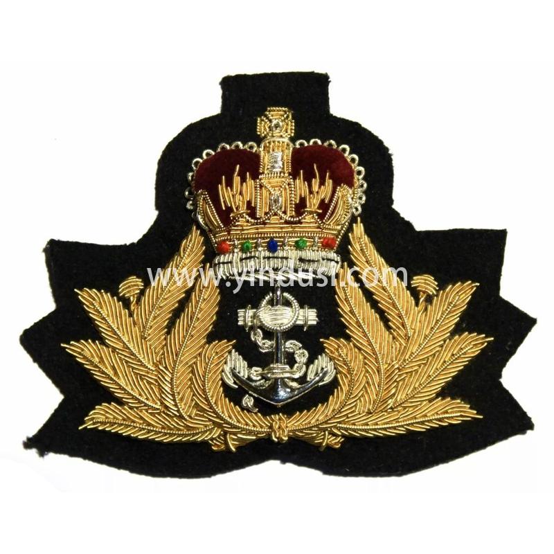 印度丝徽章工厂手工刺绣金属丝帽徽定制二战德国军帽帽徽定做