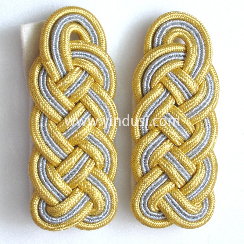 印度丝军品工厂手工编织金属丝麻花肩章定制二战德国礼服肩章定做
