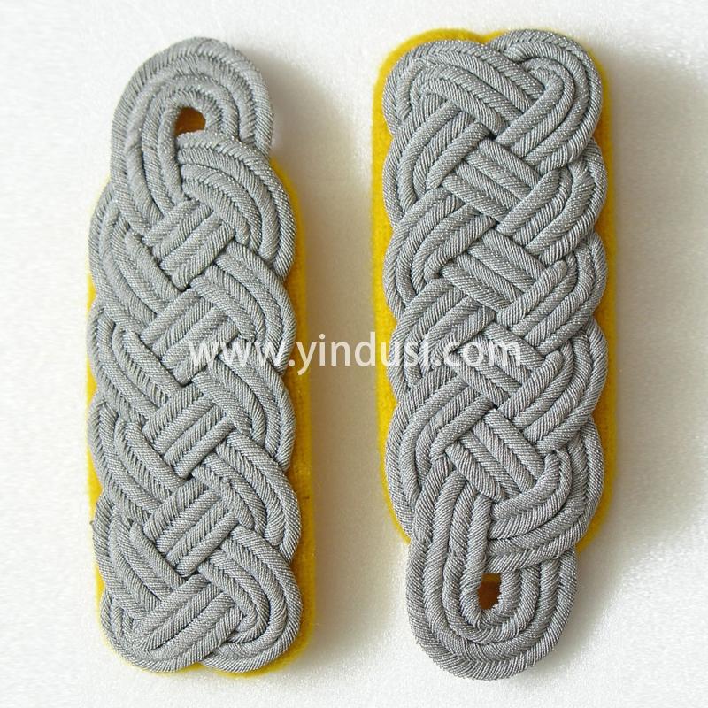 印度丝军品工厂手工编织金属丝麻花肩章定制二战德国将领肩章定做
