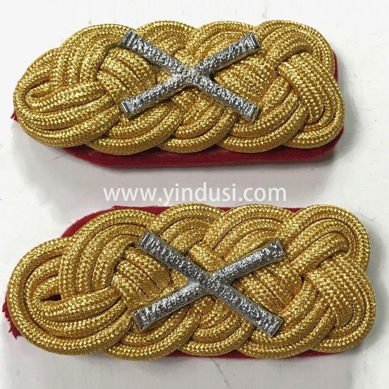 印度丝军品工厂手工编织金属丝麻花肩章定制二战德国元帅礼服肩章定做