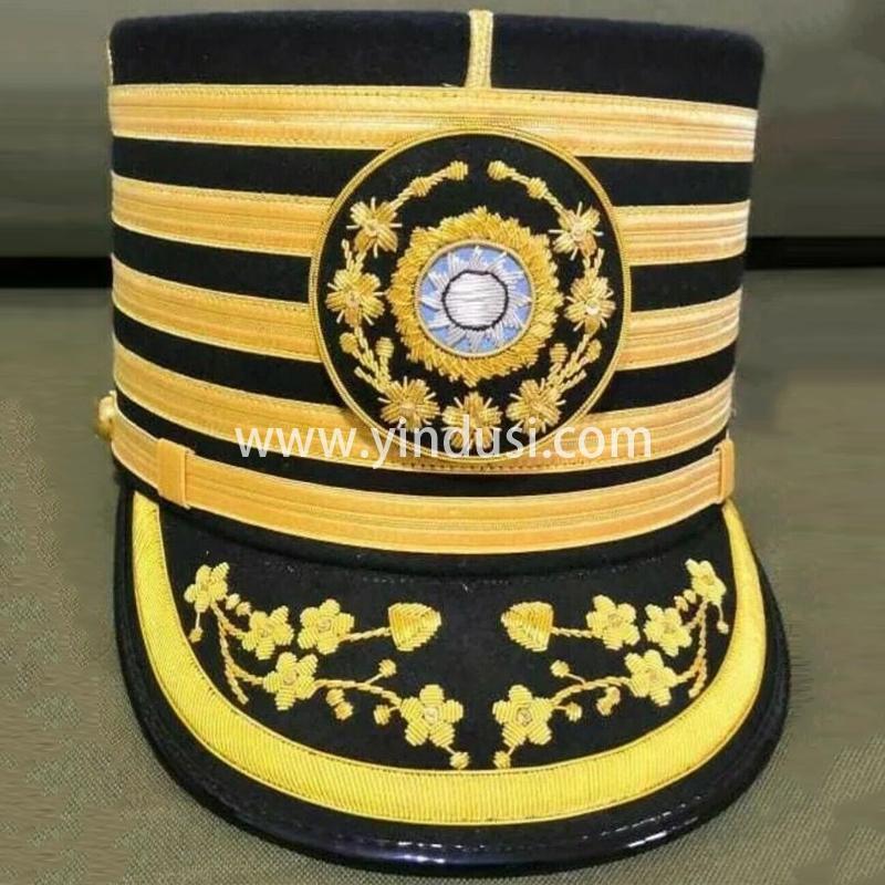 印度丝军品工厂手工刺绣金属丝英国军帽定制各国帽徽帽檐帽封带定做