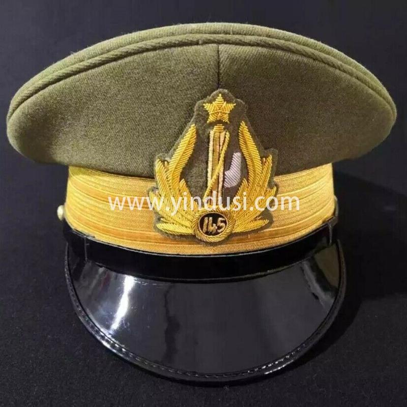 印度丝军品工厂手工刺绣各国帽徽帽檐定制高级军官礼服英国军帽定做
