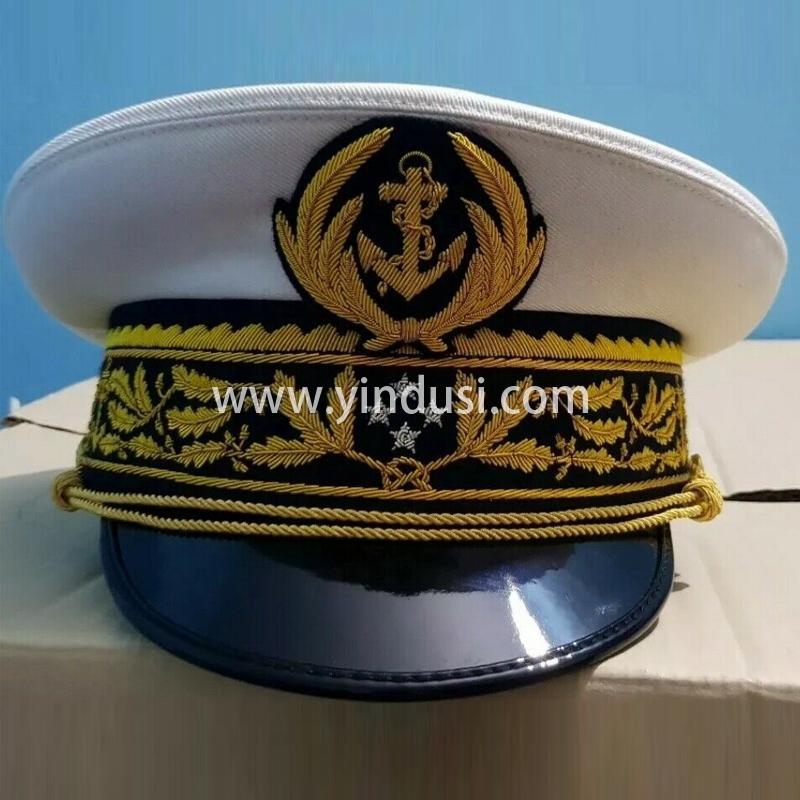 印度丝军品工厂手工刺绣帽檐帽徽帽腰定做各国高级军官礼服英国军帽定制