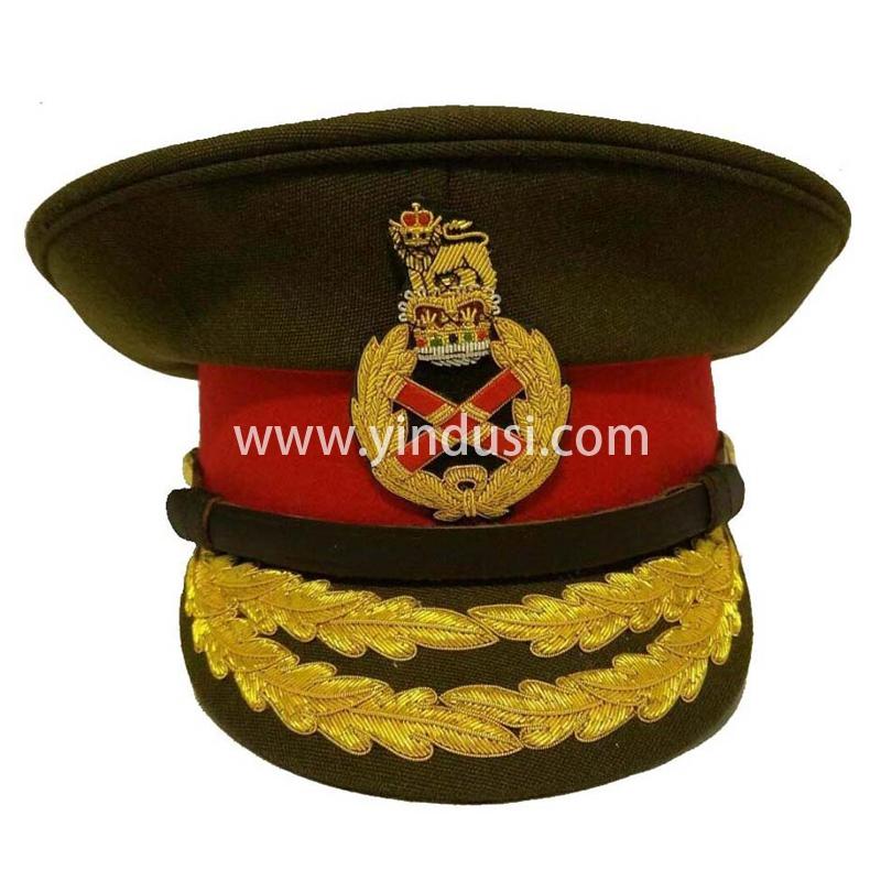 印度丝军品工厂手工刺绣金属丝帽檐帽徽定做二战德国高级军官礼服军帽定制