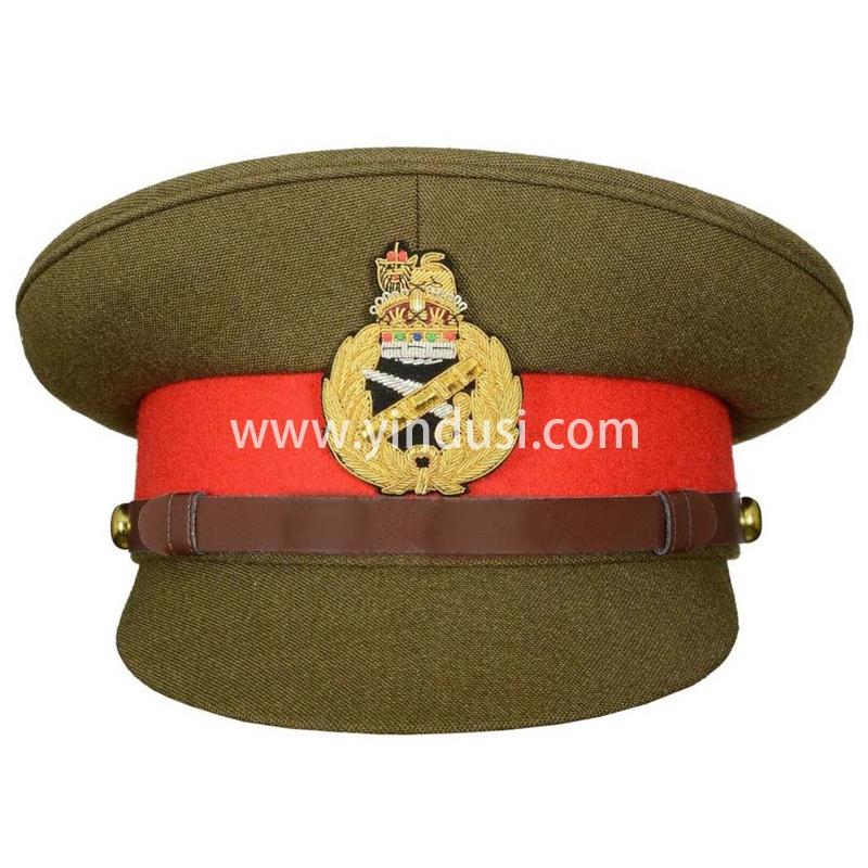 印度丝军品工厂手工刺绣金属丝帽徽帽檐定做二战英国高级军官军帽定制