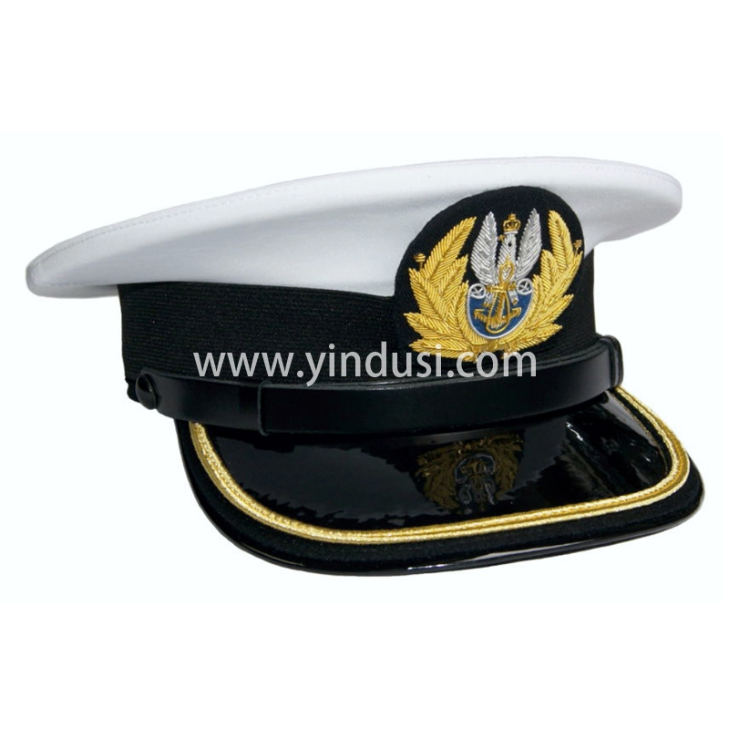 印度丝军品工厂手工刺绣金属丝帽徽帽檐定做各国高级军官礼服军帽定制