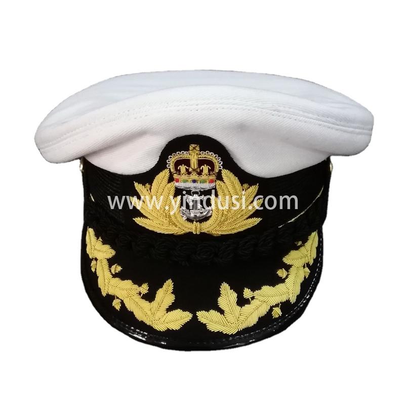 印度丝军品工厂手工刺绣金属丝帽檐帽徽定做高级军官礼服军帽定制