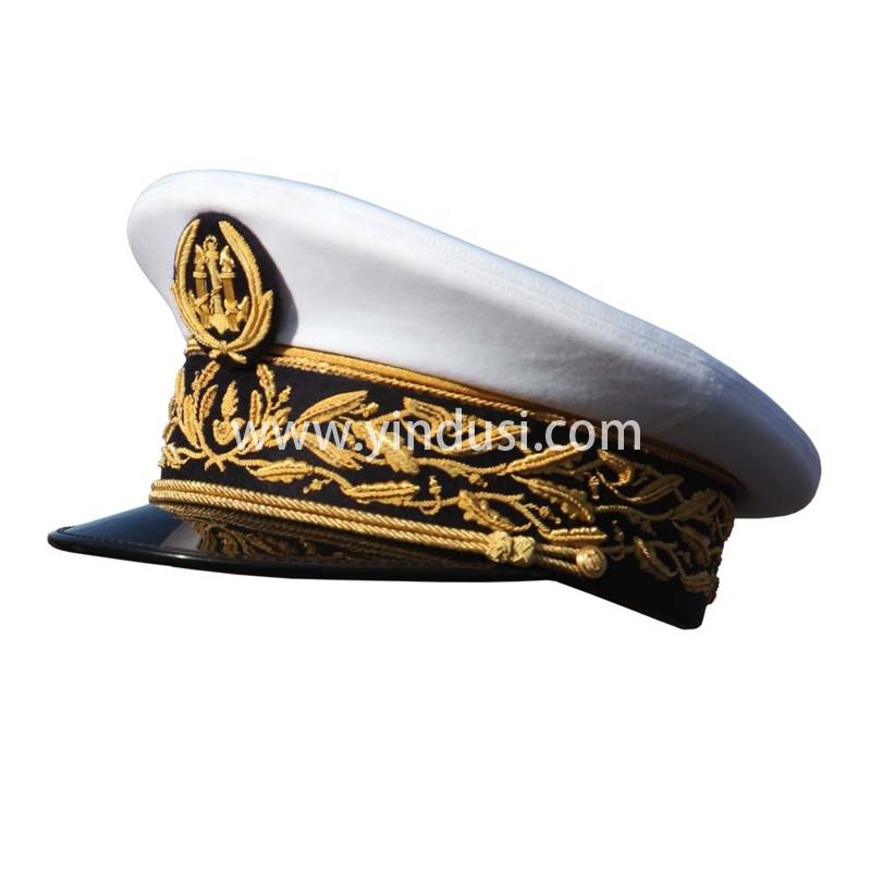 印度丝军品工厂手工刺绣帽徽帽檐定做各国高级军官礼服英国军帽定制
