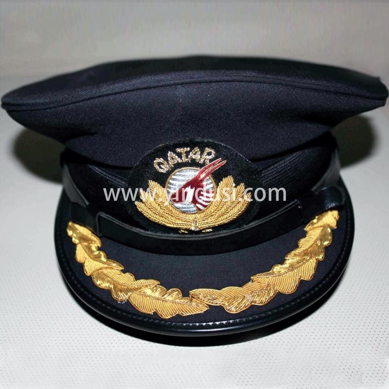 印度丝军品工厂手工刺绣帽徽帽檐定做卡塔尔航空公司军帽定制