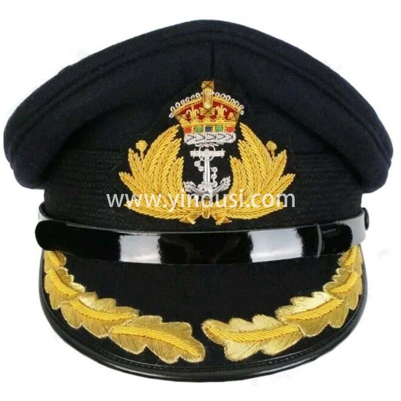 印度丝军品工厂手工刺绣帽徽帽檐定做英国高级军官礼服军帽定制
