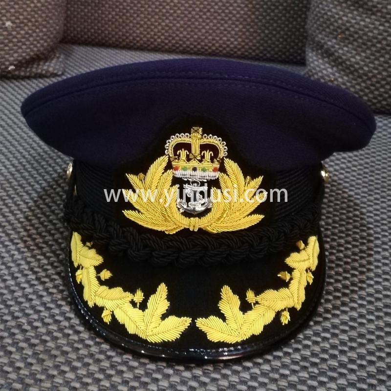 印度丝军品工厂手工刺绣帽徽帽檐定做各国军帽高级礼服英国军帽定制