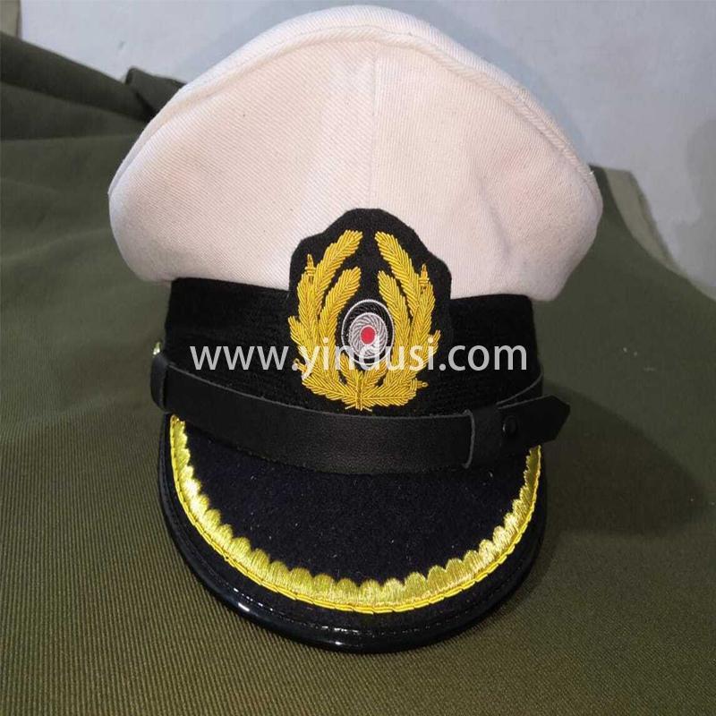 印度丝军品工厂手工刺绣金属丝帽徽帽檐定做二战德国海军军帽定制