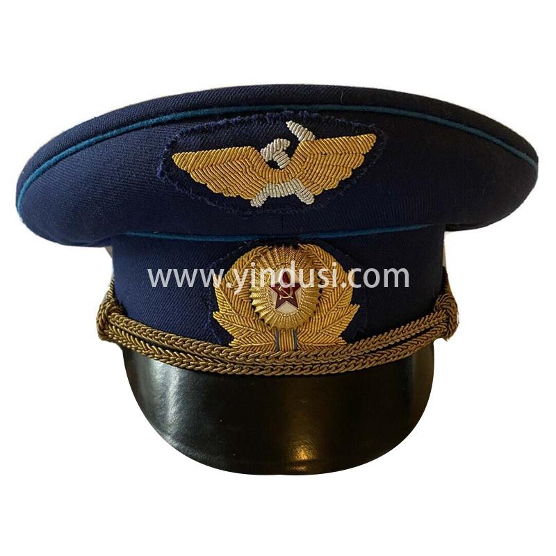 印度丝军品工厂手工刺绣帽徽帽檐定做各国高级军官礼服军帽定制