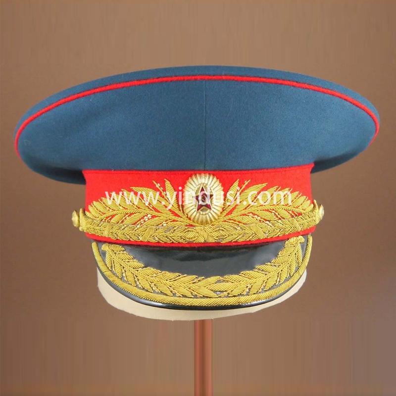 印度丝军品工厂手工刺绣帽徽帽腰帽檐定做俄罗斯斯大林大元帅军帽定制