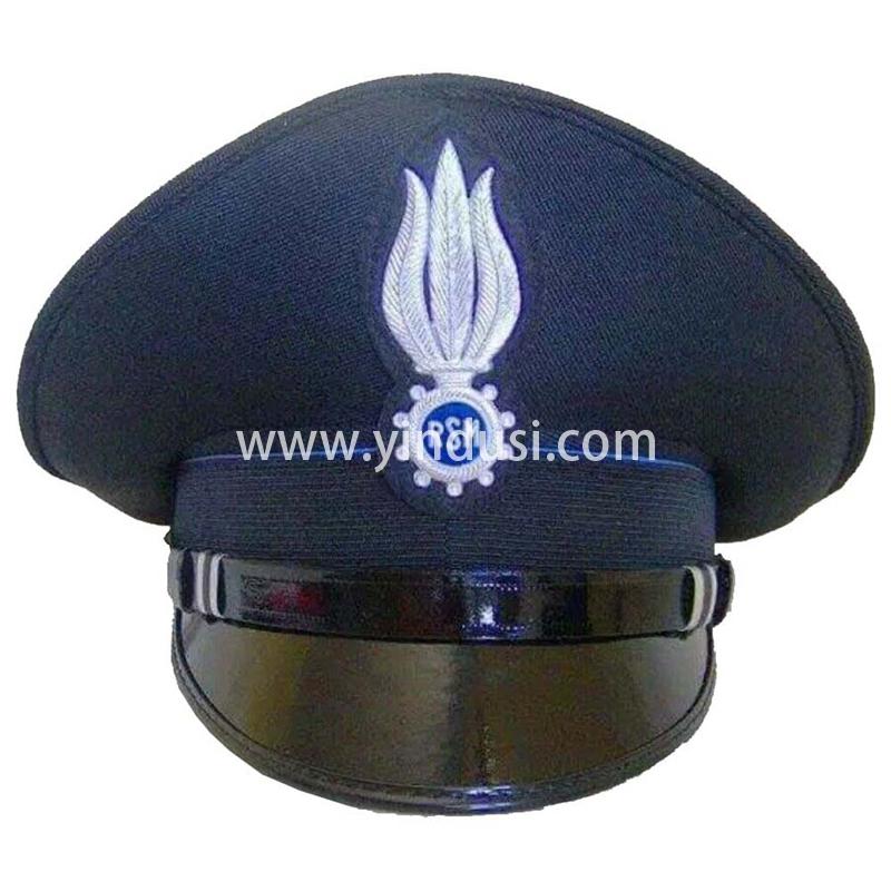 印度丝军品工厂手工刺绣金属丝帽徽帽檐定做火焰RSM军帽定制