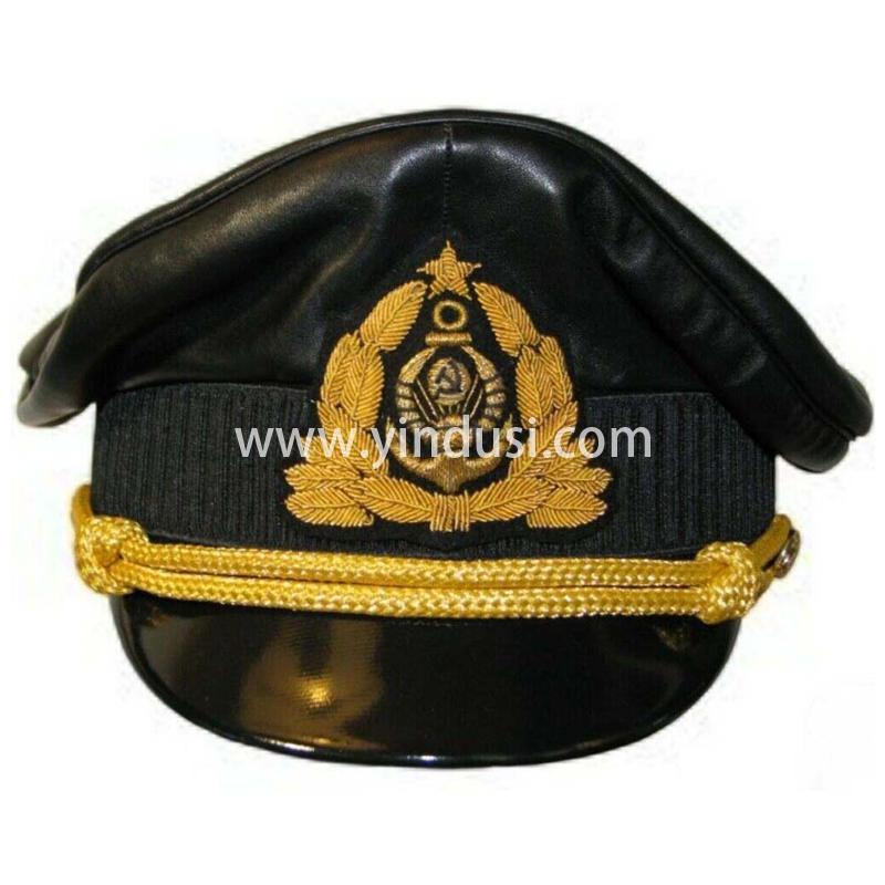 印度丝军品工厂手工刺绣帽徽帽檐定做各国高级军官航空公司军帽定制