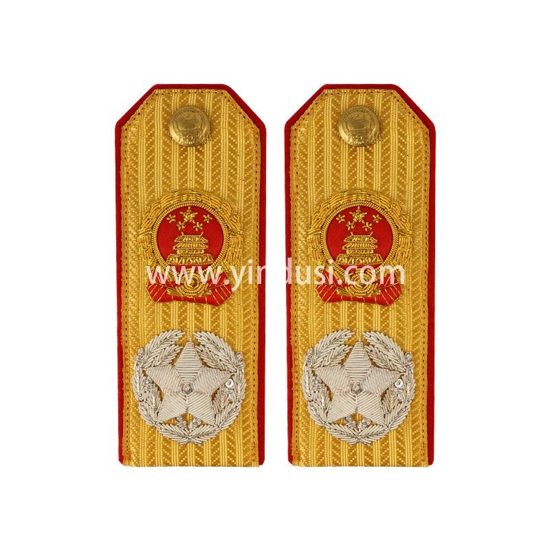 印度丝手工刺绣金属丝国徽肩章五星肩章大元帅高级将领肩章