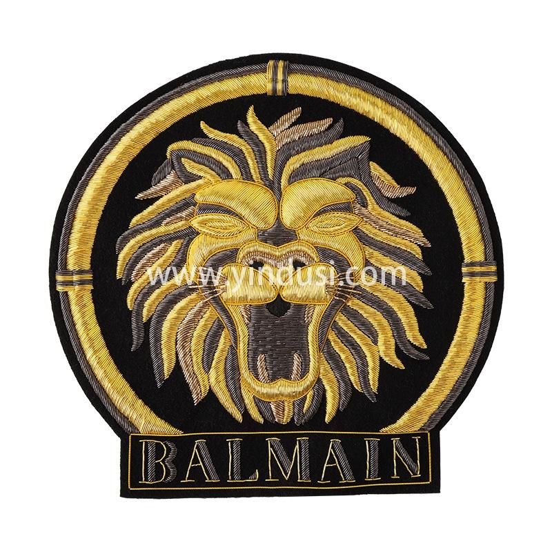 印度手工刺绣巴尔曼徽章狮子金属绣花徽章机车服徽章绣标定制