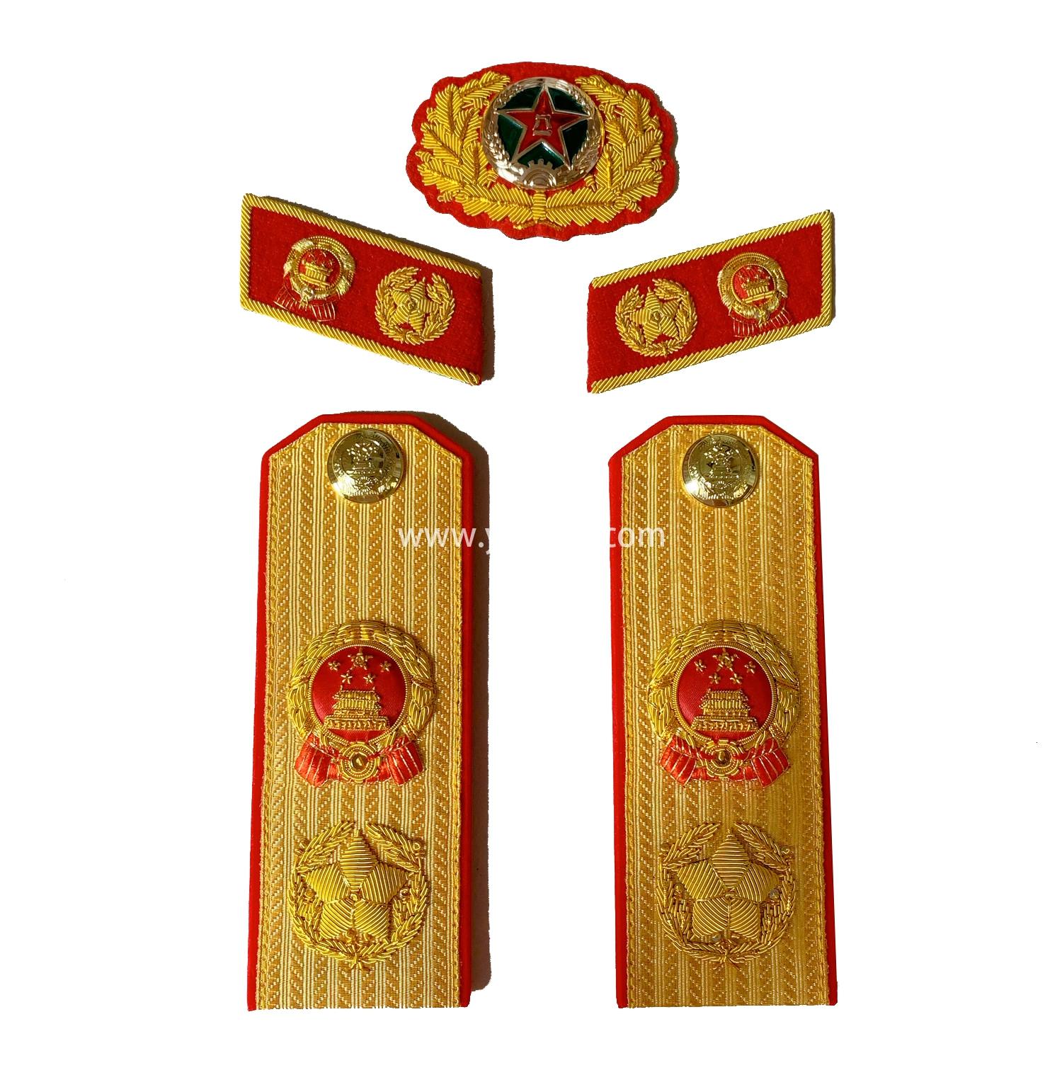 印度丝手工刺绣苏联大元帅肩章满底金正红边55式常服五星徽章松枝纪念章