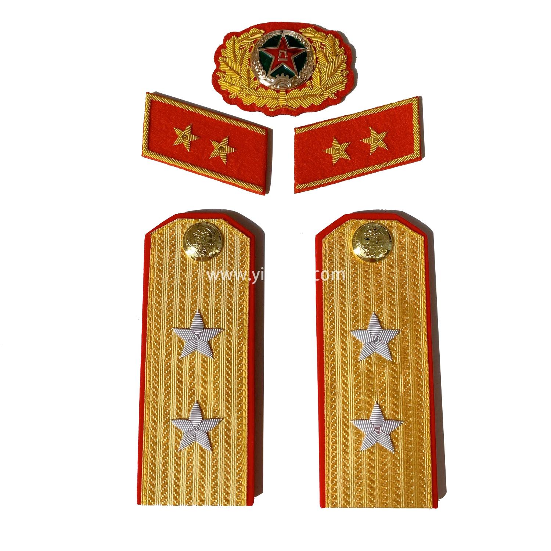 苏联中将肩章印度金属丝手工刺绣金销绣满底金正红边55式常服五星徽章