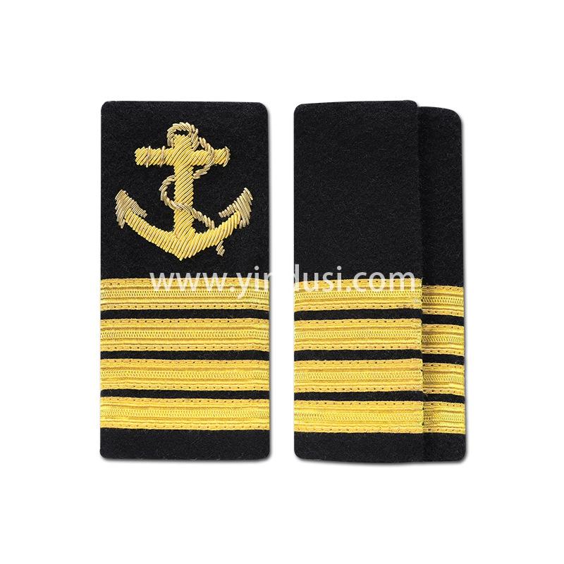 印度手工刺绣金属丝船锚肩章海员船员船长肩章铁路保安消防肩章定制